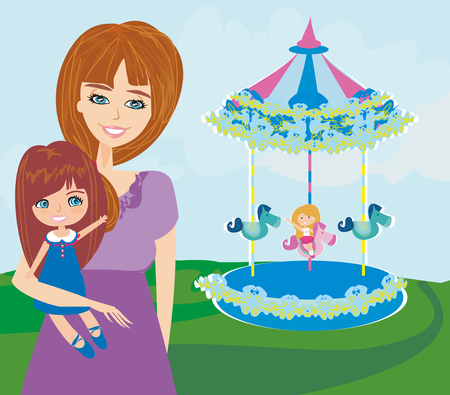 daughter: Happy daughter on carousel Illustration