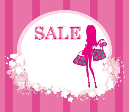fashion shopping girl with shopping bag - sale card