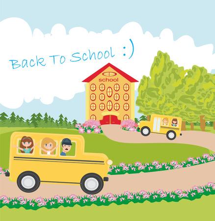 school bus heading to school with happy children