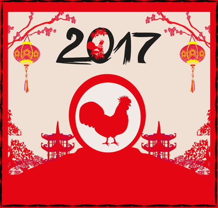 new years background: year of rooster design for Chinese New Year celebration