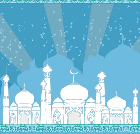 feter: Ramadan background - mosque  illustration card Illustration