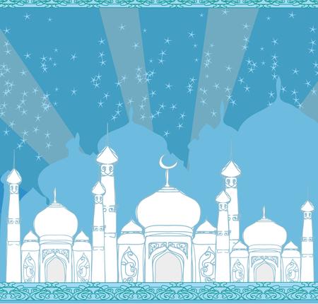 Ramadan background - mosque  illustration card Illustration