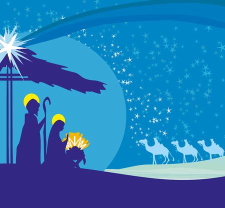 Biblical scene - birth of Jesus in Bethlehem. Stock Illustratie