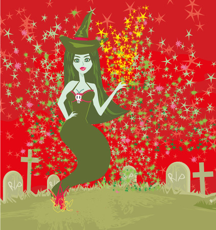 ghostly figure and cemetery Illustration