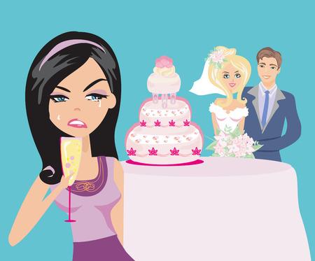 giovane donna gelosa su una coppia di nozze felice