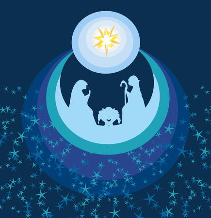abstraite carte de Noël - la naissance de Jésus à Bethléem.