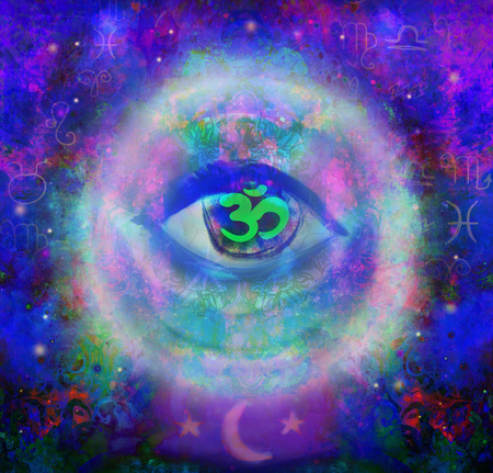 third eye: illustration of a third eye mystical sign in glass sphere
