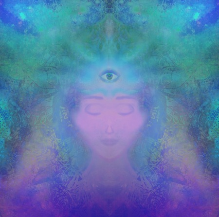 third eye: man with third eye, psychic supernatural senses Stock Photo