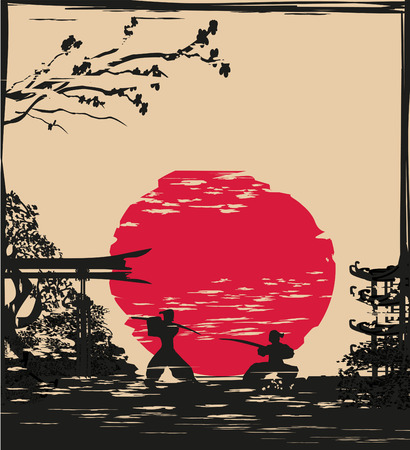 Japanese Samurai fighter card Stock Vector - 62189284