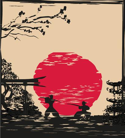 Japanese Samurai fighter card Illustration