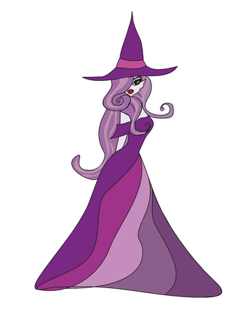 beautiful doodle witch