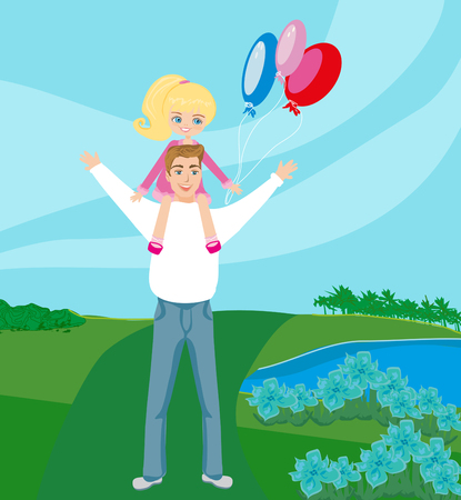 piggyback: Father Carrying Daughter On His Shoulders Illustration