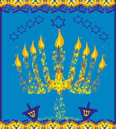 hanukkah menorah: hanukkah menorah abstract card