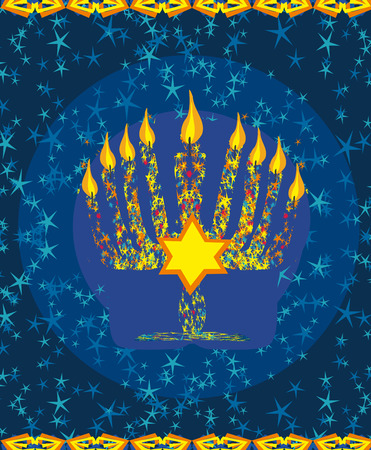 jewish holiday: Jewish holiday hanukkah card Illustration