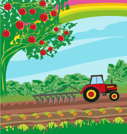 grower: rural landscape - tractor and orchard Illustration