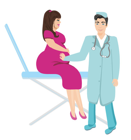 obstetrician: pregnant woman with doctor