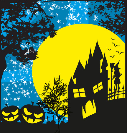 halloween invitation: halloween invitation with haunted house, pumpkins and witch