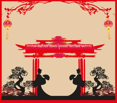 geisha: abstract landscape with geisha Illustration