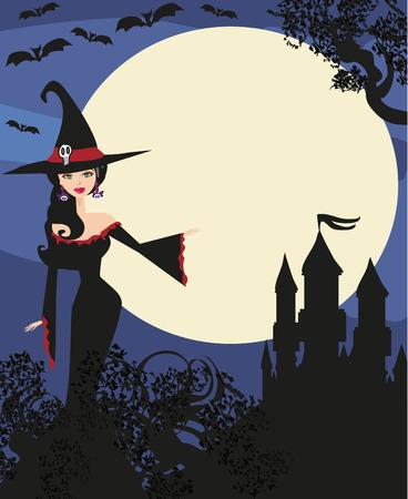 halloween invitation: halloween invitation with beautiful witch