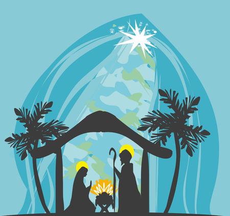 holy family: birth of Jesus in Bethlehem Illustration