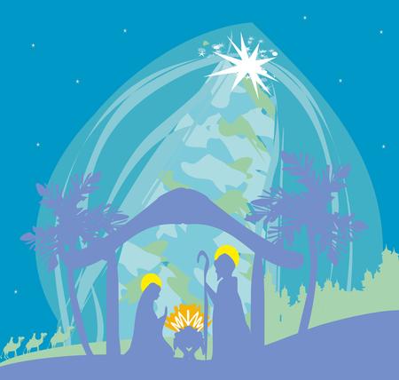 Biblical scene - birth of Jesus in Bethlehem. 矢量图像