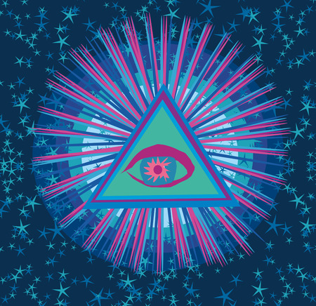 All seeing eye inside triangle pyramid. Illustration