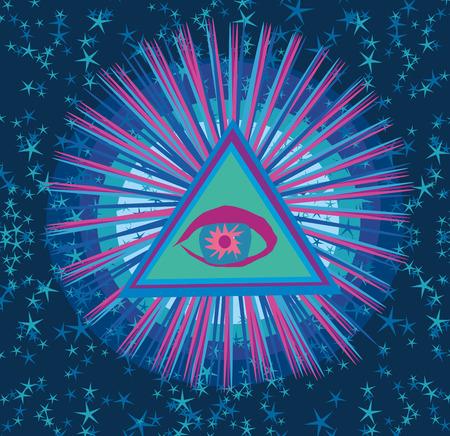 all seeing eye: All seeing eye inside triangle pyramid. Illustration