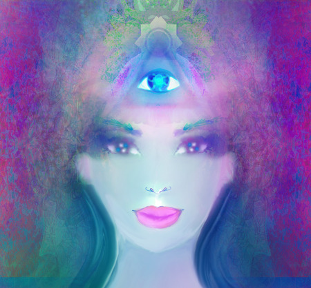 senses: Woman with third eye, psychic supernatural senses