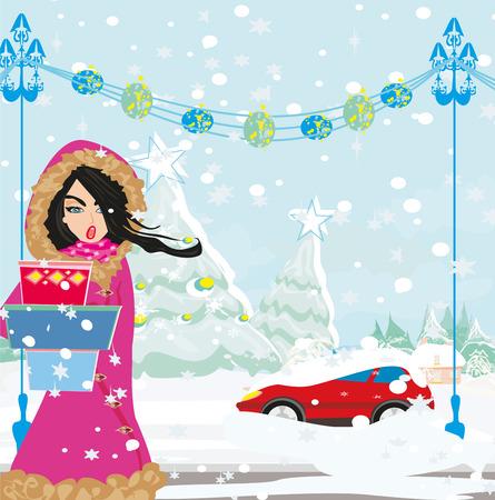 Stuck samochodu w śniegu