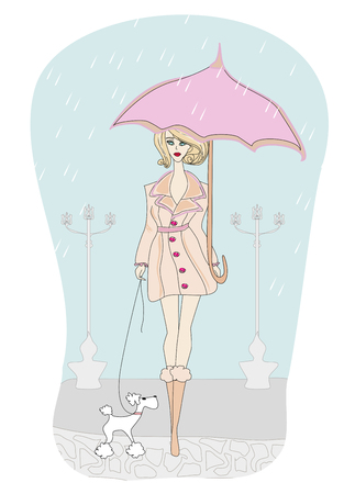 rain coat: Girl walking with her dogs in rain