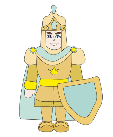 Funny cartoon knight on white background