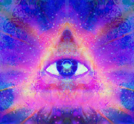 third eye: illustration of a third eye mystical sign Stock Photo