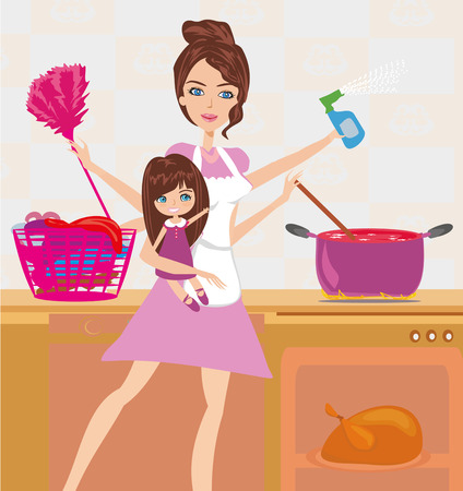 simultaneously: Busy young mother simultaneously doing many tasks around the house. Illustration