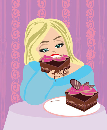 gluttonous: hungry gluttonous woman eating pie Illustration
