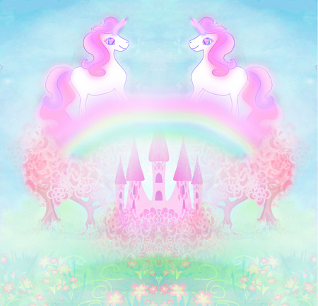 princess castle: Card with a cute unicorns rainbow and fairy-tale princess castle Stock Photo