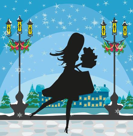 Christmas shopping - winter sale card Vector Illustration