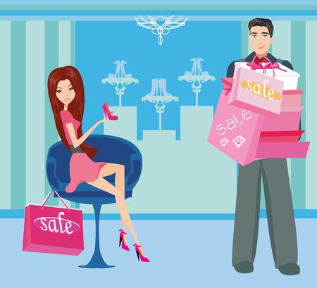 dissatisfaction: couple on shopping Illustration