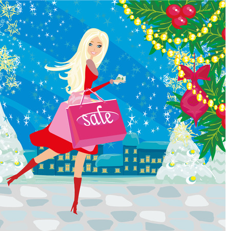 hermosa mujer haciendo las compras en invierno Vectores