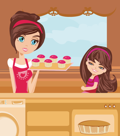 preparing food: mother and daughter Baking muffins Illustration