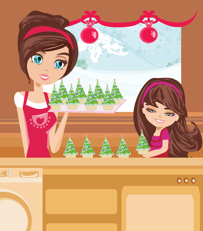 preparing food: mother and daughter Baking muffins in christmas style