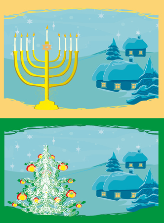 chanuka: Pair of Happy Holidays! cards with Christmas tree and Channuka candles