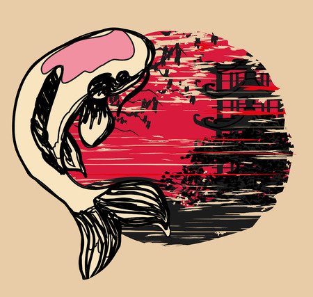 coi carp: japanese koi and ancient building background