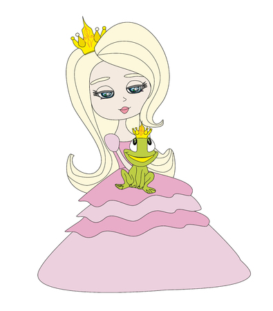 frog queen: Beautiful young princess holding a big frog