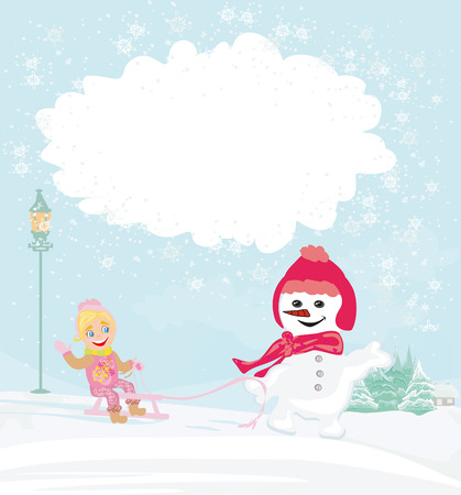 winter girl with sled and charming snowman Illustration