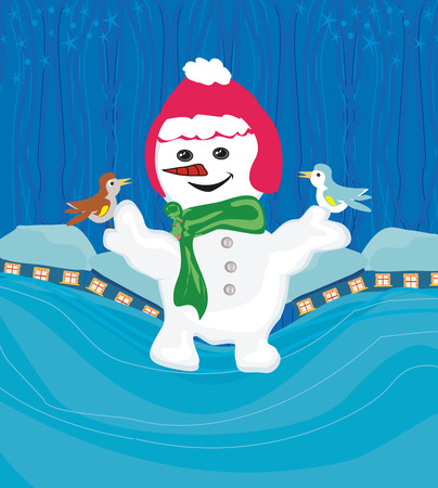 chearful: snowman with a scarf and bird sitting on his hand