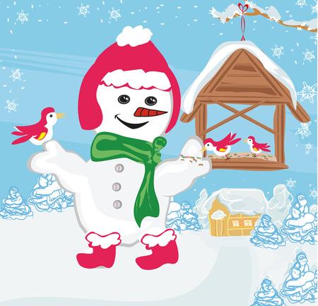 feeds: snowman feeds the birds Illustration