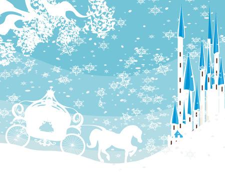 paisaje de invierno con el castillo y el carro Ilustración de vector
