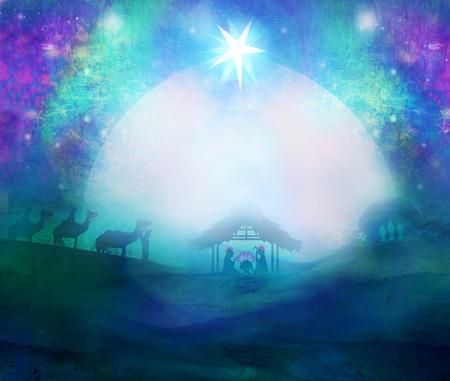 biblical: Biblical scene - birth of Jesus in Bethlehem. Stock Photo