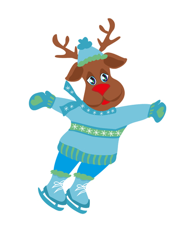 Christmas reindeer with scarf skates on ice - isolated illustration