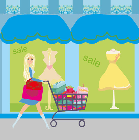 Woman pushing shopping card